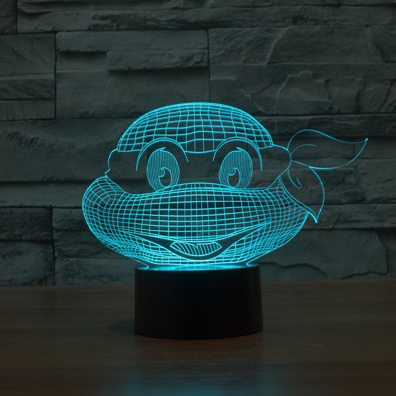 new TMNT avatar colorful 3D lamp night light touch switch LED stereo lamp lights illusio ...