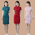 2016 spring fashion design charming qipao traditional vestido  chinese mandarin collar cheongsam short sleeve dress