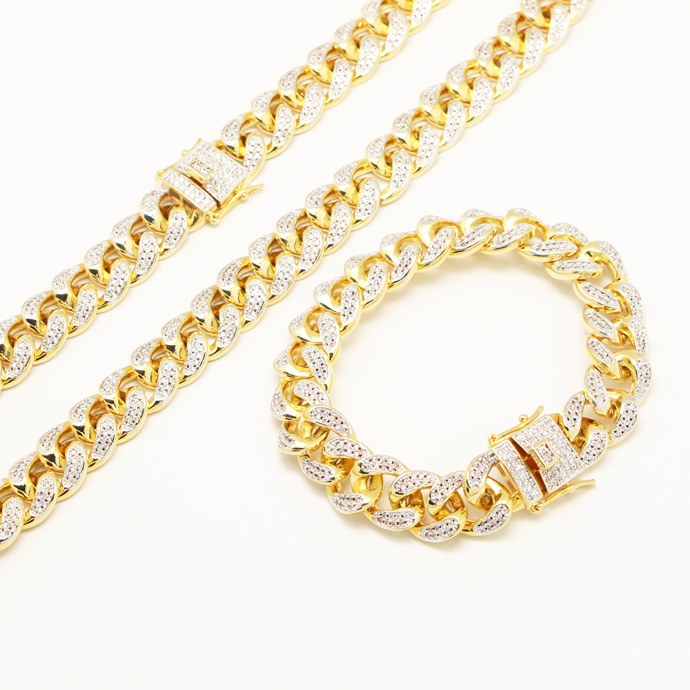 22 (45cm) & 8 (23cm) Men's Hip Hop Jewelry Iced Out Micro Setting Brass Gold 14mm Miami Cuban Chain Necklace Bracelet Set