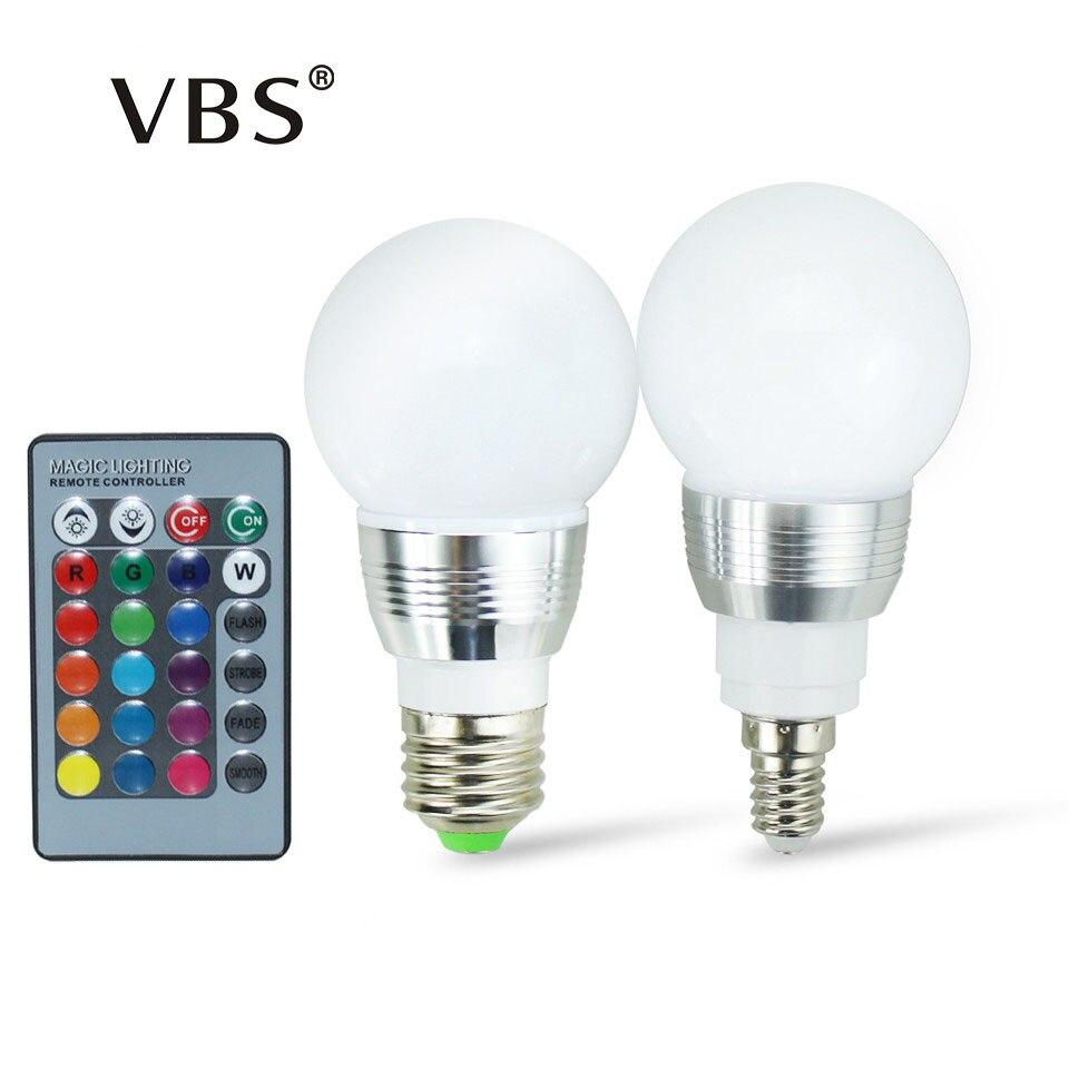 E27 E14 RGB лампа ac100-240v 3 Вт светодиодный прожектор затемнения волшебный Праздник Rgb Освещение ИК Дистанционное управление 16 Цвета 270 градусов