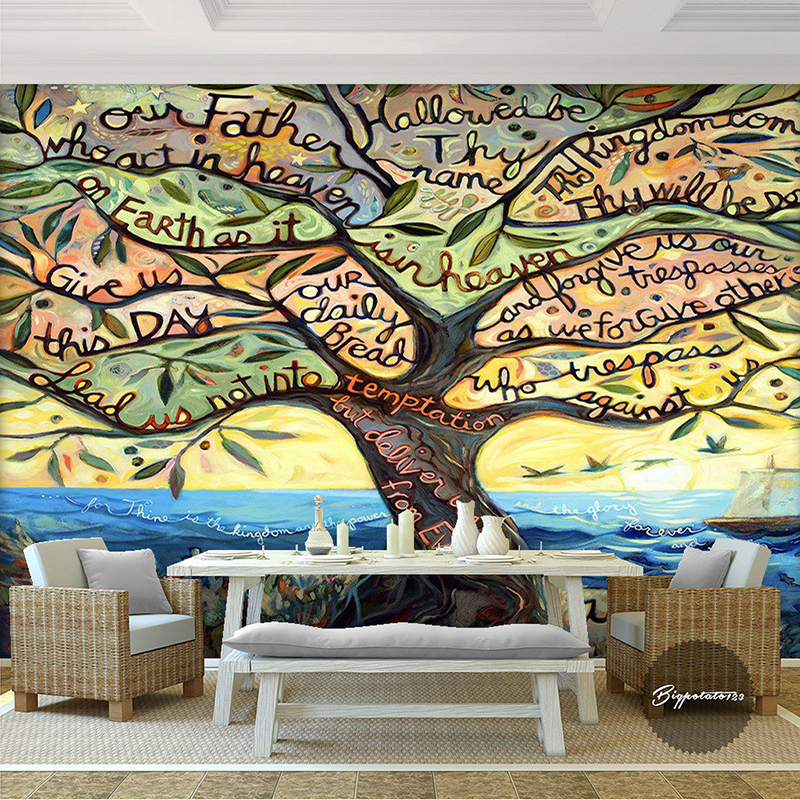 Large cartoon fantasy multicolor mural wallpaper 3d for Wallpaper home cartoon