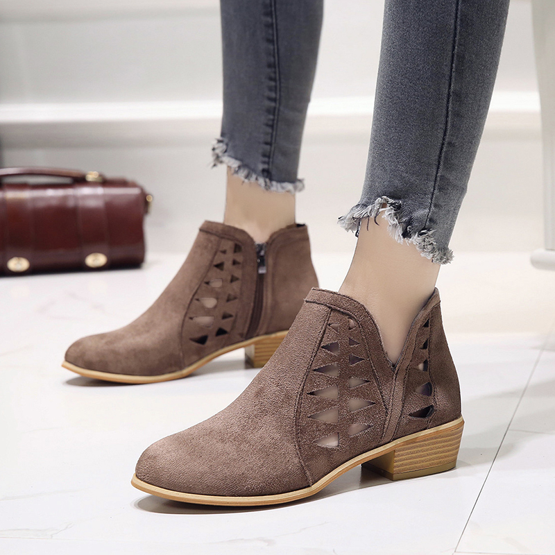 Rimocy 2019 spring hollow out single shoes woman faux suede round toe square heels pumps women 4cm med heels casual shoes femme 37