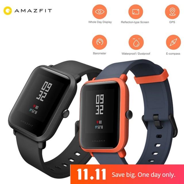 Оригинальный huami Amazfit молодежи Смарт-часы Bip бит Уход за кожей лица GPS Фитнес таккера сердечного ритма Баро IP68 Водонепроницаемый Бесплатная протектор