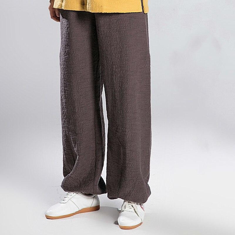 Men And Women Linen Tai Chi Pants Martial Art Practice Pants Kung Fu Trousers Elastic Band 7 Colors