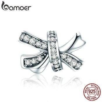 4c508668e73f BAMOER moda 925 plata esterlina Bowknot dulce deslumbrante de cristal CZ  cuentas de encanto mujeres pulseras de la joyería de DIY haciendo SCC773