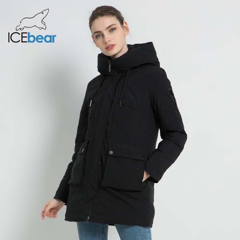 Icebear 2019 novo inverno com capuz jaqueta feminina casaco de moda feminina quente inverno parkas roupas mais tamanho gwd19078i - 3