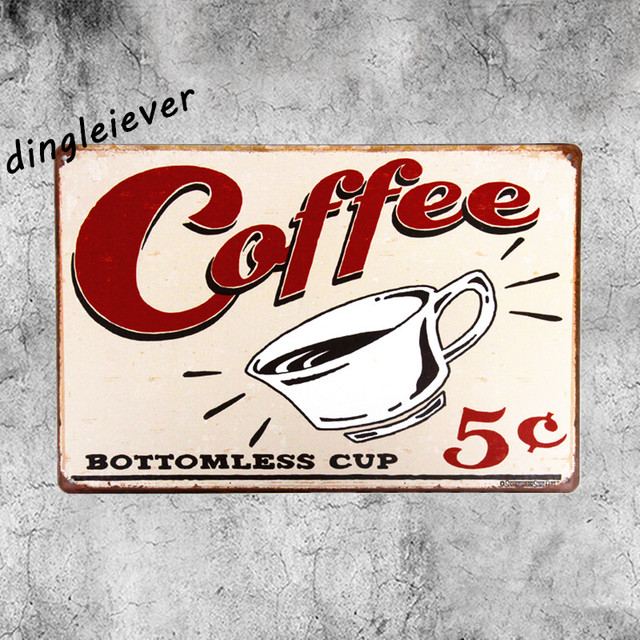 Coffee Bottomless Cup Metal Sign Vintage Coffee Signs Kitchen Decor Living  Room Wall Sticker
