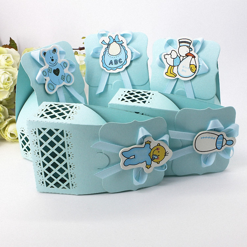 48PCS Blue Baby Shower Party Supplies Cartoon Bear Hollow Out Bottle Candy <font><b>Box</b></font> <font><b>Big</b></font> Bow Boy Tiny Duck <font><b>Gifts</b></font> <font><b>Packaging</b></font> For Wedding image