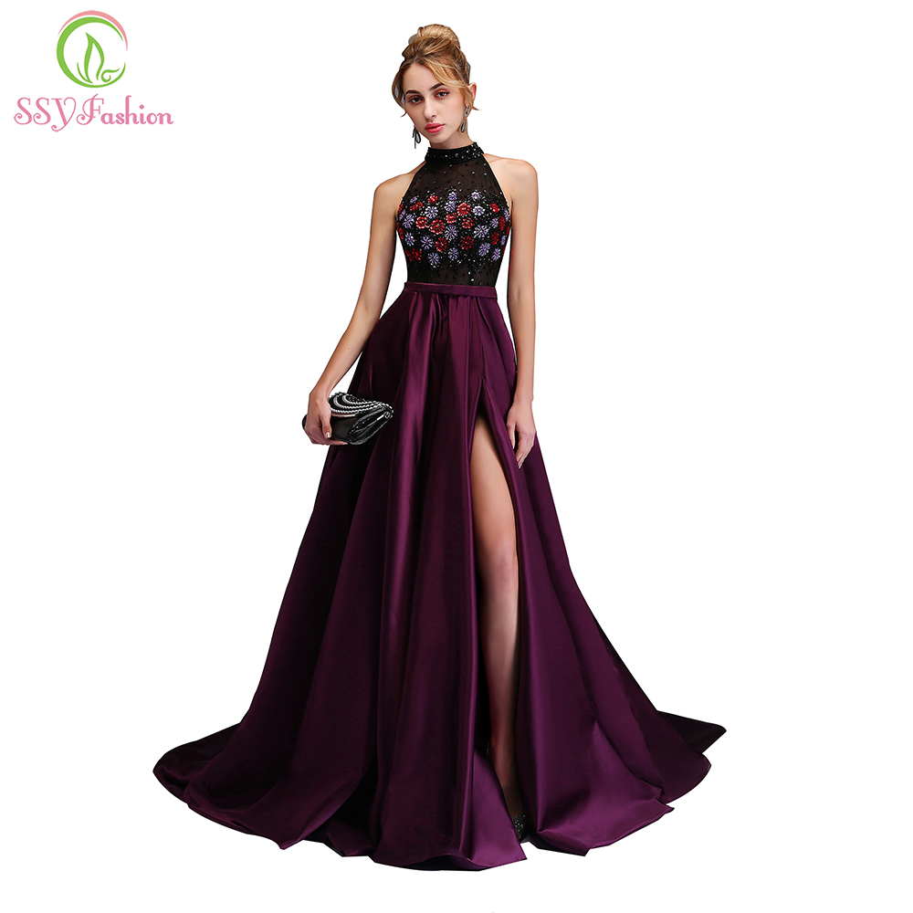 SSYFashion New Luxury Evening Dress High-end Custom Purple Satin ...