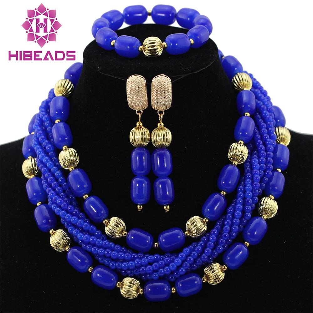 Boda Nigeriano Beads Africanos Joyería Establece Royal Blue Coral Partido Indio