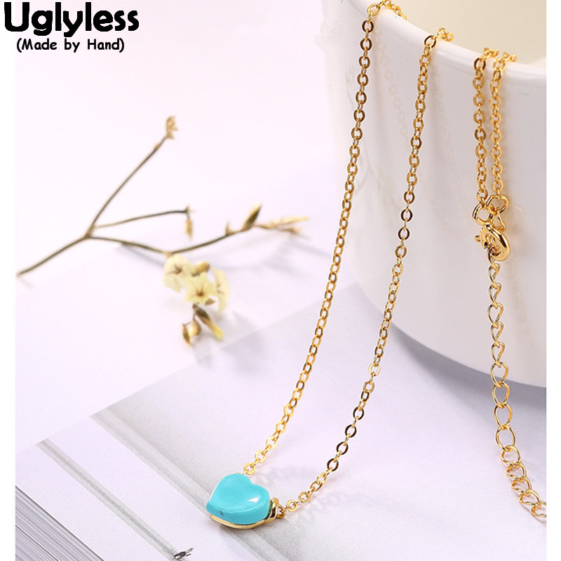 Uglyless Real 925 Sterling Silver Natural Turquoise Heart-shape Pendants Necklaces for Women Vintage Fine Jewelry Ethnic Bijoux wildo fold a cup
