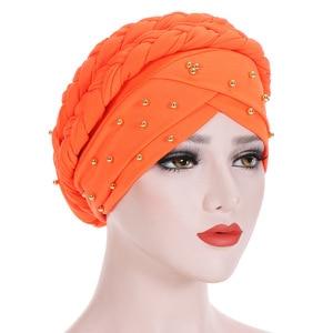 Image 5 - Muslim Women Elastic Bead Cross Cotton Braid Turban Hat Scarf Chemo Beanies Cap Hijab Headwear Head Wrap Hair Accessories