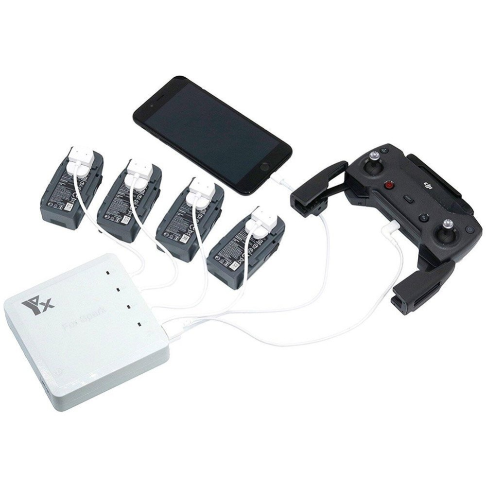 6 in 1 Battery Parallel Charger Remote Controller Charger Dual USB Mobile Phone Charging Hub for