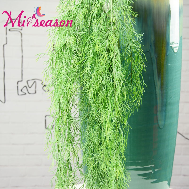 Free Shipping 1 PC Green Artificial Plant Rattan Fake Leaves Hanging Vine For Home Wedding Wall Decor Camera props