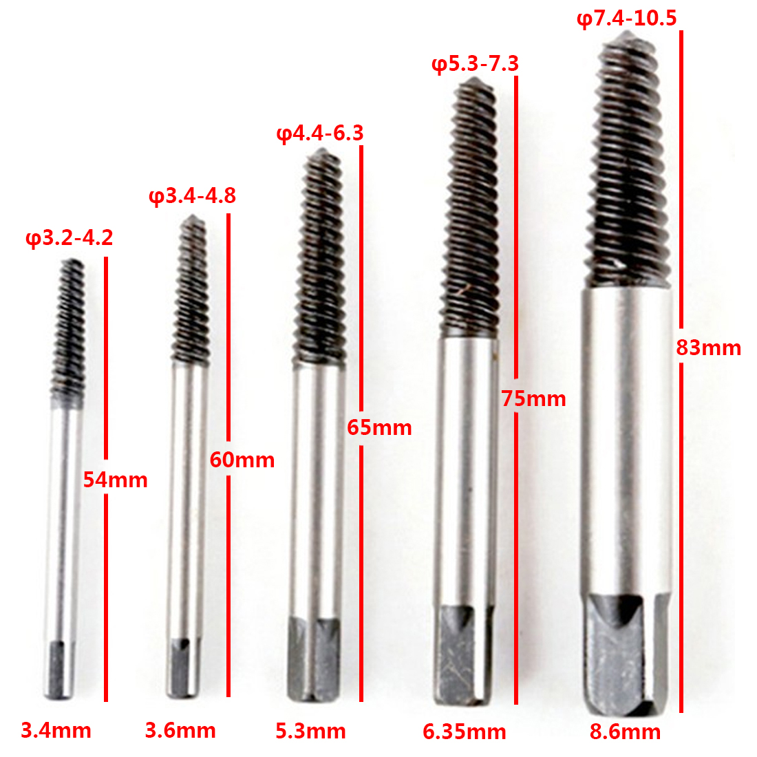 Carbon Steel 5pcs/set Screw Extractor Broken Bolt Remover Drill Guide Bits Set