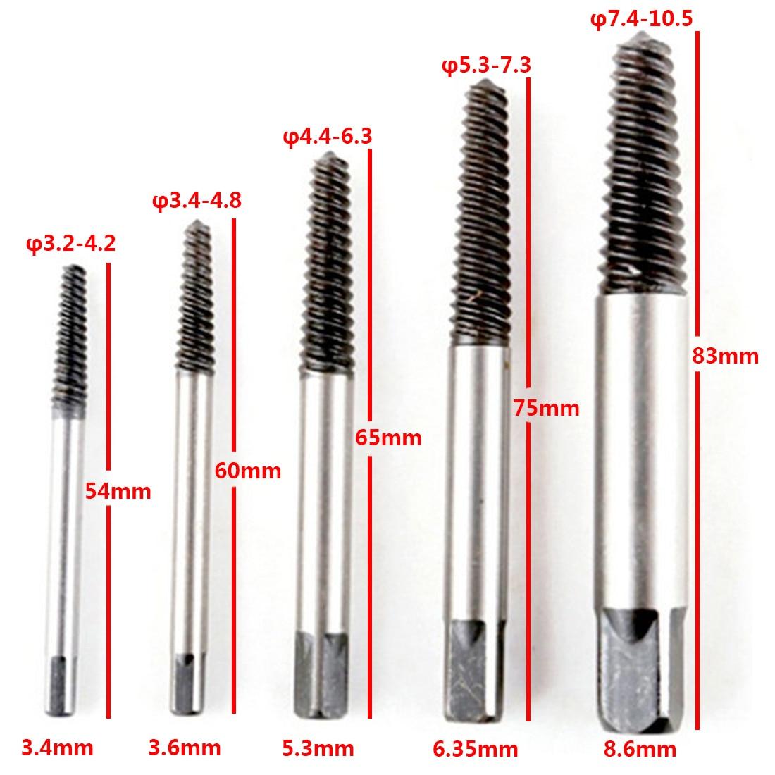 Carbon Steel 5pcs/set Screw Extractor Broken Bolt Remover Drill Guide Bits Set
