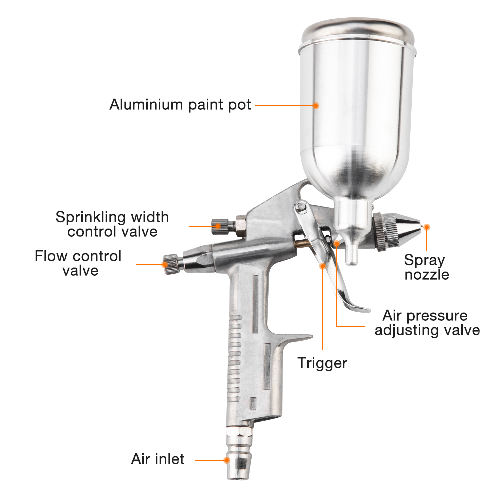 Image 3 - Professional Spray Gun 0.5MM Nozzle Gravity Feed Power Tools Airbrush Spray Gun Mini Air Paint Spray Gun For Painting Car-in Spray Guns from Tools on