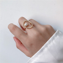Korean Pearl Oval Fashion Rings For Women Personality Hollow Out Simple Ring Jewelry 2019 Chic Bijoux