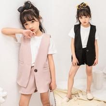 Kids Formal Suit 2019 Summer Girl Clothing Set Teenage Girls White Short Sleeve T-shirt+Blazer Vest Coat+Shorts 3pcs Kids Sets недорого