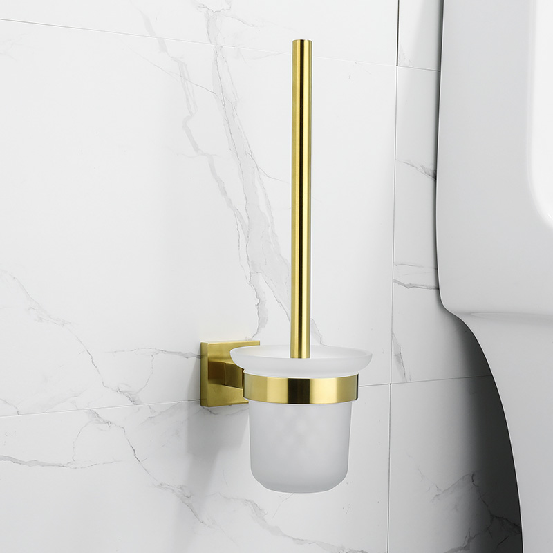 SUS304 Stainless Steel Bathroom Aceessories Toilet Brush Holder Wall Mounted Bath Hardware Set Polished Gold Toilet Clean Brush