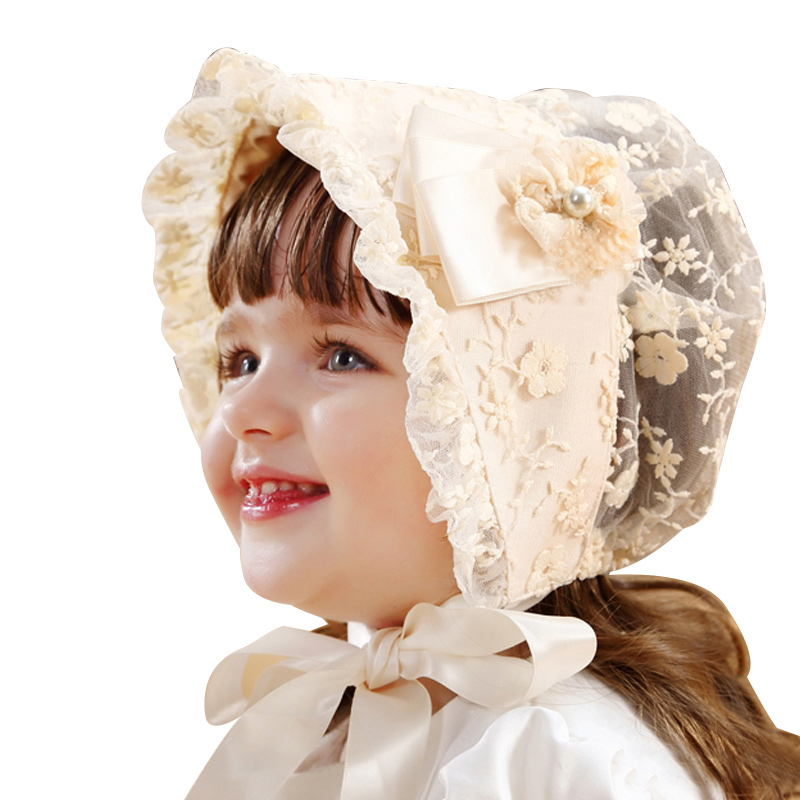 Lace Girls Hat Flower Princess Sun Hat Lace Up Girls Palace Beanie European Style Baby Hat Spring Autumn Baby Girls Clothing