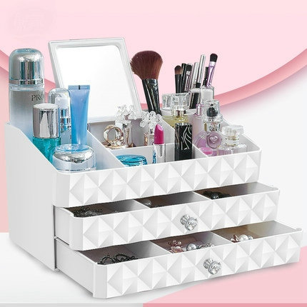 Charmant Double Layer White Makeup Cosmetic Organizer Jewelry Box Desk Plastic  Storage Cabinets With Drawers