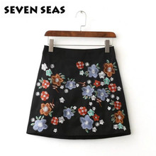 Fashion New Ethnic Flower Embroidery Cute Black Skirt A Line Vintage High Waist Skirts Jupe Femme Faldas Mujer