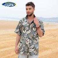 Mens Beach Border Hawaiian Shirt Tropical Summer Aloha Shirt Men Brand Clothing Casual Button Down Shirts