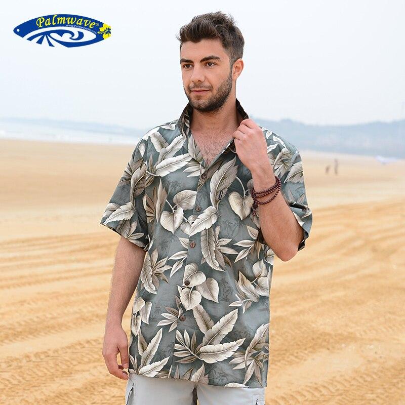 Mens Beach Border Hawaiian Shirt Tropical Summer Aloha Shirt Men Brand Clothing Casual Button Down Shirts US Size A858 silk