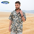 Mens Beach Border Hawaiian Shirt Tropical Summer Aloha Shirt Men Brand Clothing Casual Button Down Shirts US Size A858