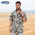 Mens praia fronteira camisa havaiana Tropical Summer Aloha Shirt dos homens da marca roupas casuais camisas de botão Down eua tamanho A858