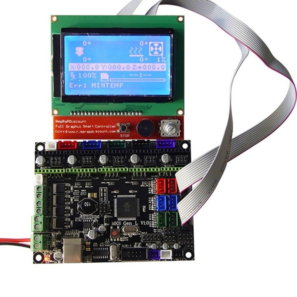 3D Imprimante Kit MKS Gen V1.0 L de Contrôle Du Conseil D'administration 12864 LCD Affichage Écran Module Avec Câble USB pour 3D imprimante