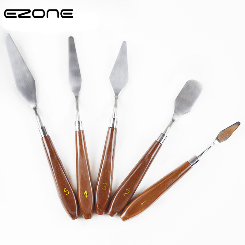 EZONE 5PCS Scraper Spatula Different Size Stainless Steel Palette Knives For Artist Oil Painting Art Tools Painting Knife Blade ezone metal paint brush stainless steel spatula art scorper oil scraper oil painting shovel pastry tool mixing scraper pack tool