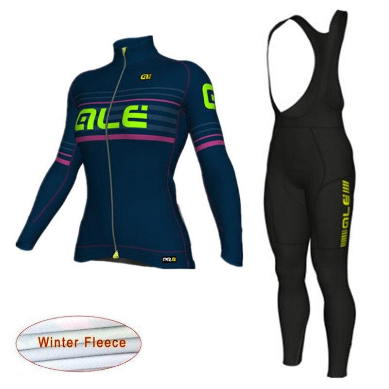 2018 ALE Pro Team Cycling Jersey Long Sleeve Winter Thermal Fleece Women Clothing suit Bike Wear Ropa Ciclismo Bib Pants K10