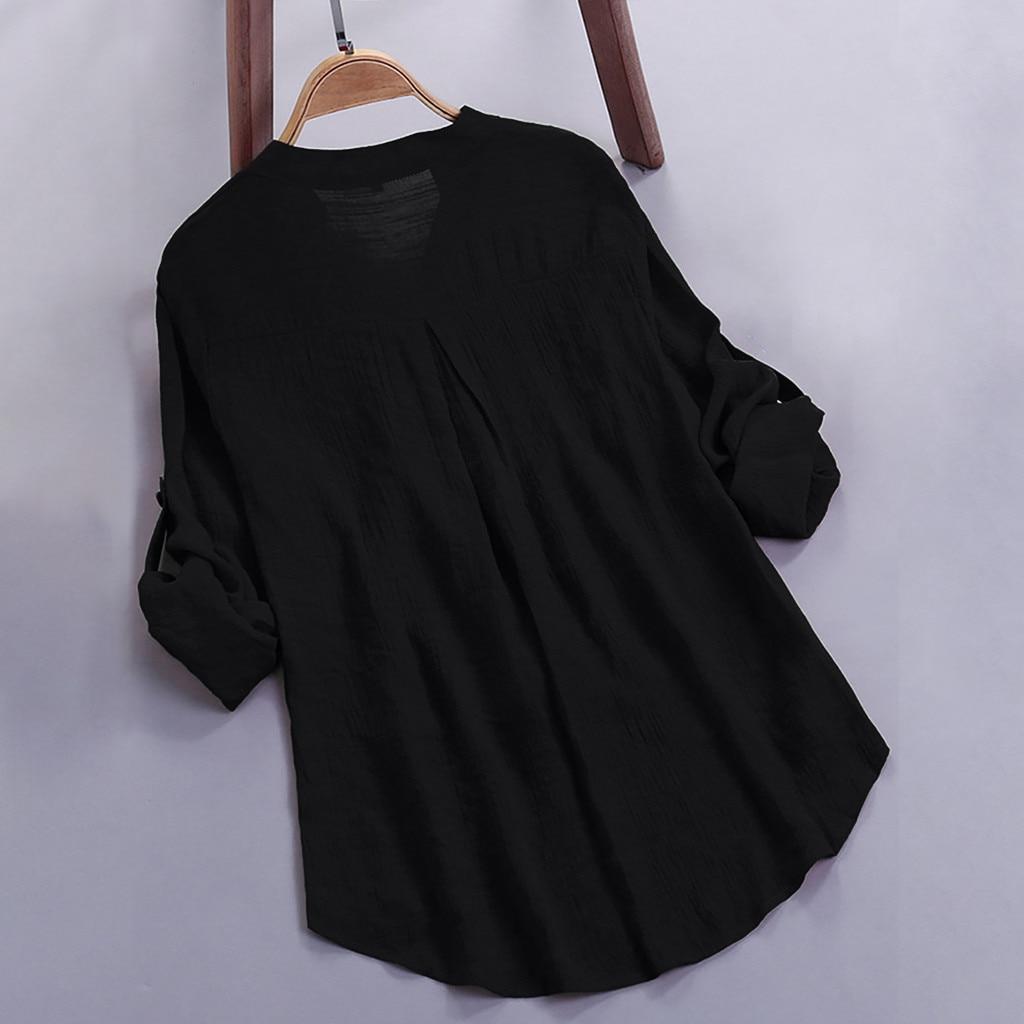 Women Blusas Femininas tunic Shirt 2019 cotton and linen tunika Tops half Sleeve Blouse Button office casual blusas female shirt