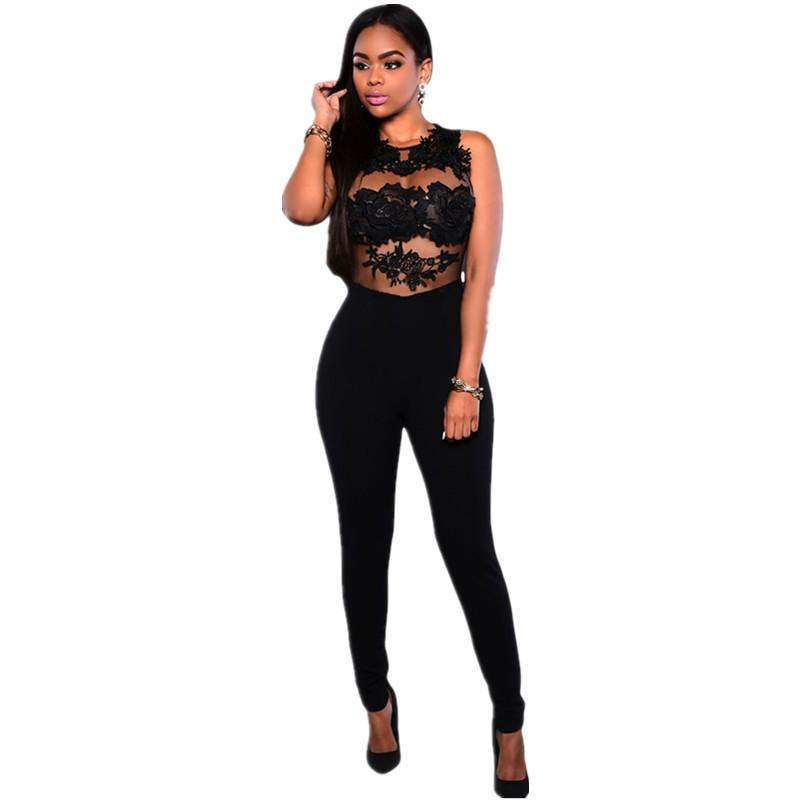 Black-Mesh-Lace-Applique-Jumpsuit-LC64037-2