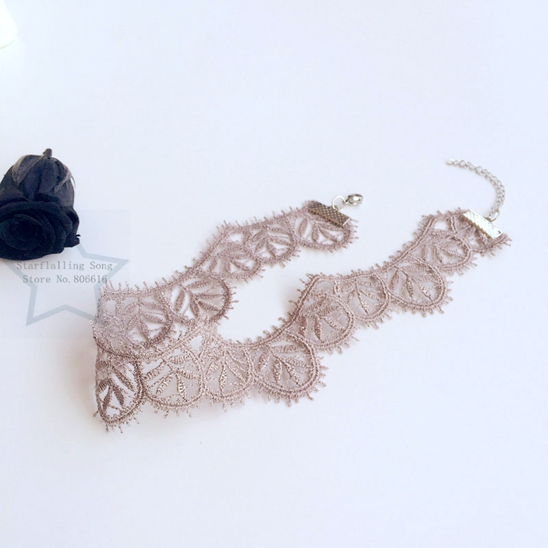 Handmade 3.0CM Hyperbole Brown Flower Chemical Lace & Stainless Steel Jewelry Choker Necklaces