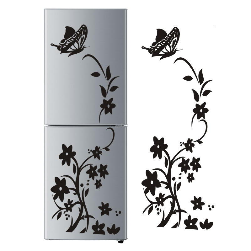 Butterfly Flower Vine Wall Stickers Removable Waterproof Wall Decal for Bedroom Living Room Refrigerator Furniture Backgroun pink butterfly flower tree wall sticker for home room decoration waterproof removable decals