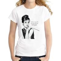 2016 Women Audrey Hepburn Printed T Shirt Novelty Vintage T Shirt Short Sleeve Lady Casual Tops