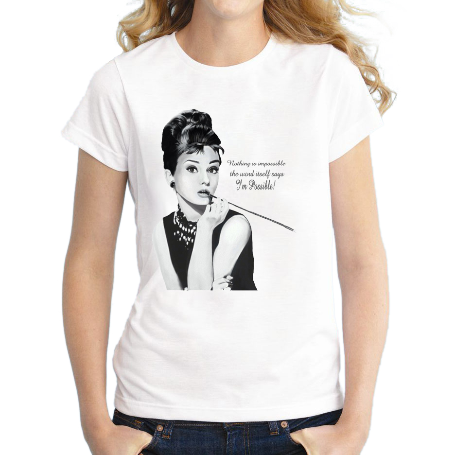 2018 Women Audrey Hepburn Printed T-shirt Novelty Vintage T Shirt Short Sleeve Lady Casual Tops