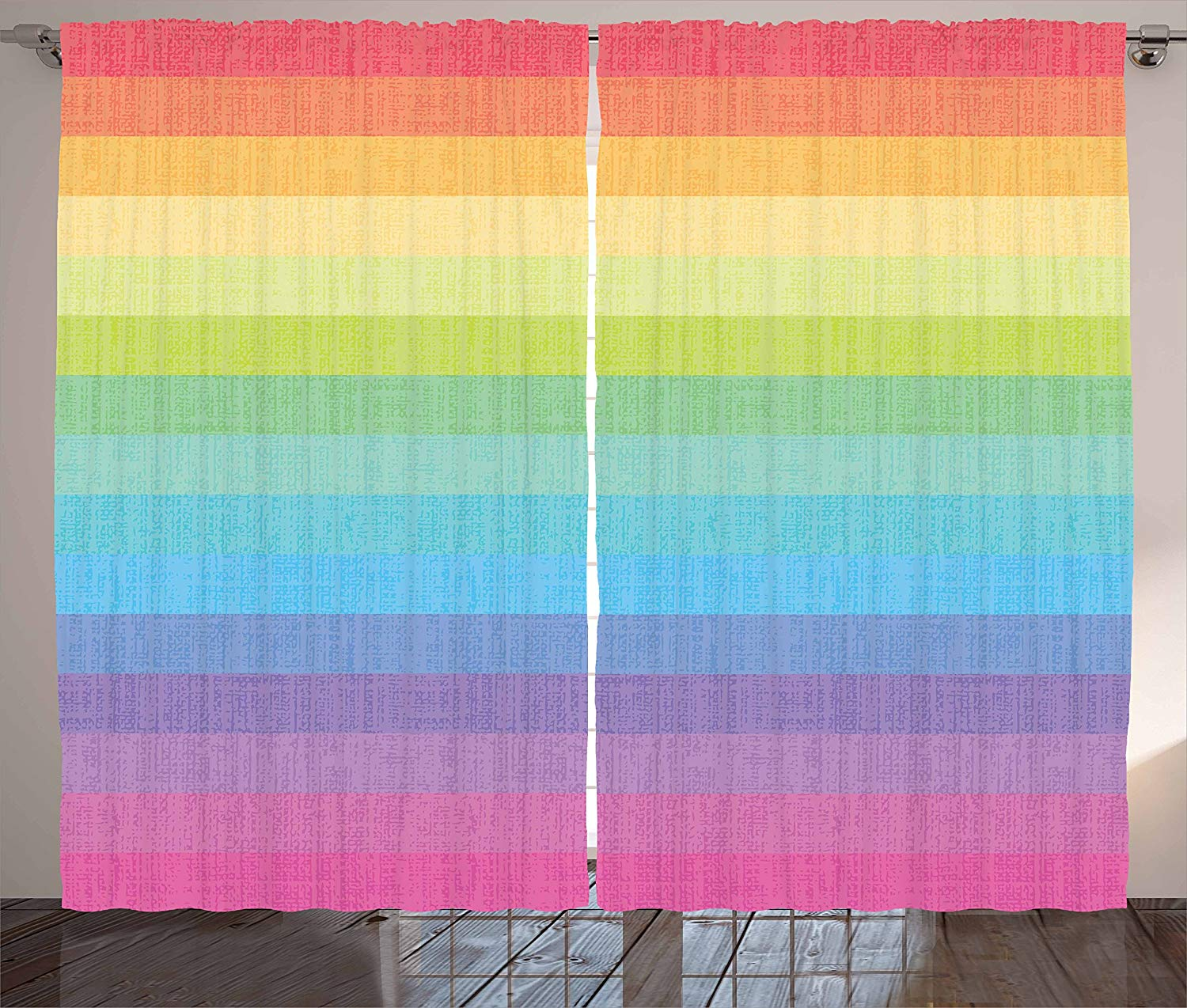 Vintage Rainbow Kitchen Curtains Vintage Abstract Lines With Rainbow Colors Grunge Old Fashioned Stripes Window Decor Panel