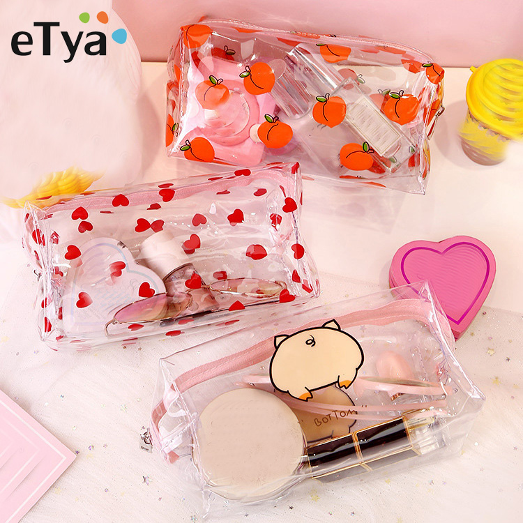 Women Transparent PVC Travel Cosmetic Bag Clear Waterproof Zipper Makeup Bag Beauty Organizer Make Up Case Wash Toiletry Bags