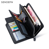 SENDEFN Luxury Genuine Leather Business Wallet Men Zipper Coin Pocket Long Men Purse Card Holder Male