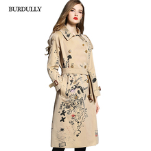 BURDULLY Autumn 2019 New Style Trench Turn-down Collar Coat For Women Wide-waisted Fashion Graffiti Classic Double Breasted