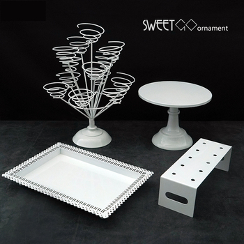 SWEETGO White cake stand set fondant cake tools dessert table wedding party baby shower cake pops supplier cupcake combination