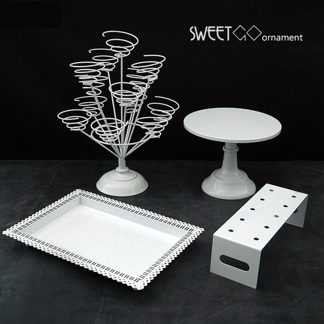 Sweetgo White Cake Stand Set Fondant Cake Tools Dessert Table