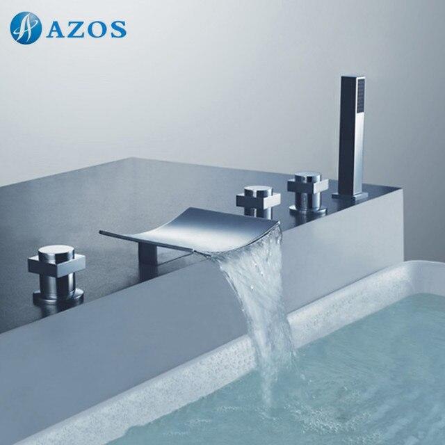 Bathtub Shower Faucets Chrome Polish Bathroom Suana 5pc Sets Showerhead,Diverter,Two Handles,Shower Hose,Waterfall Spout YGWJ039