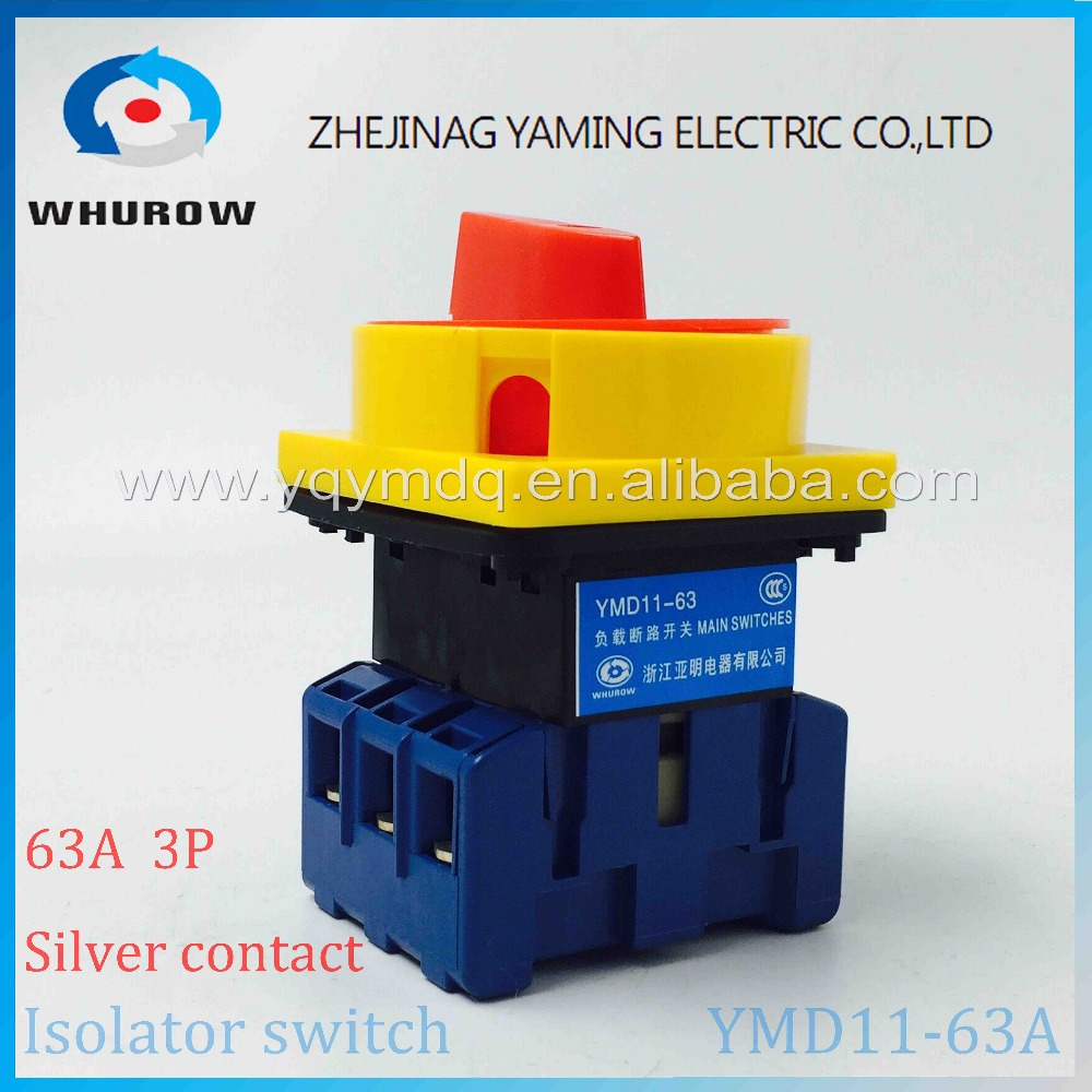 Isolator switch YMD11-63A load break switch universal power cut off switch on-off 63A 3P changeover cam switch 6 sliver contacts ac 380v 63a 3 pole 2 knife switch circuit control opening load switch