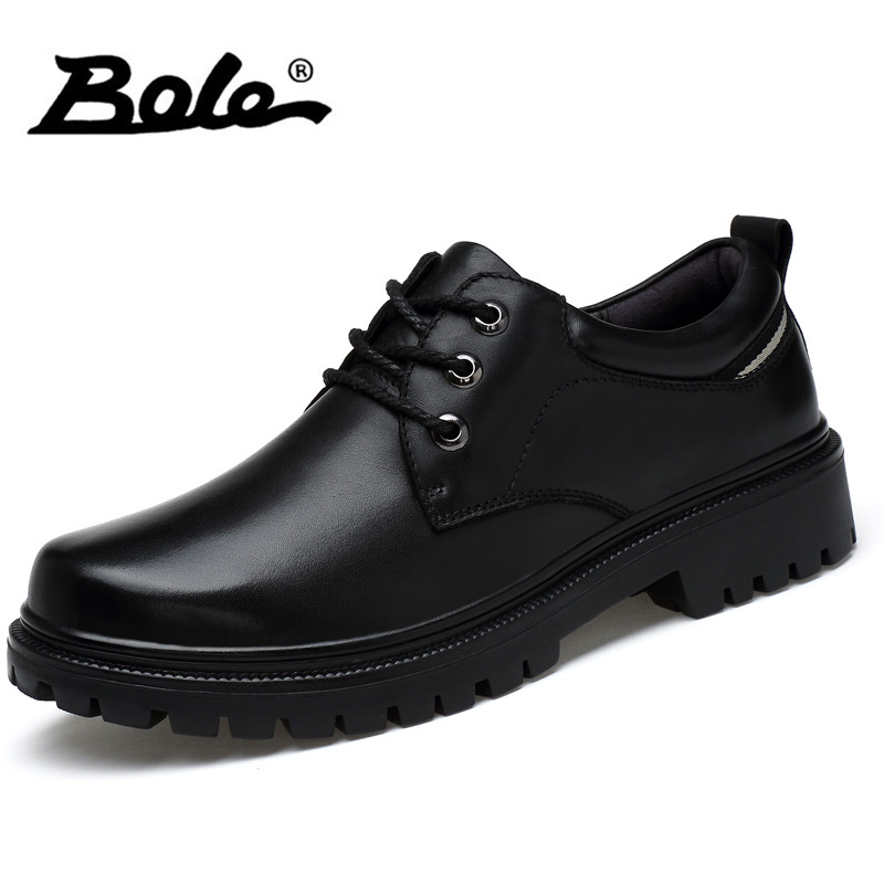 BOLE Men Genuine Leather Round Toe Casual Shoes Non-slip Shoes Sole Classic Men Leather Shoes Height Increasing 4cm Shoes business men tie shallow mouth brown leather casual rivet shoes men s shoes round youth non slip rubber sole