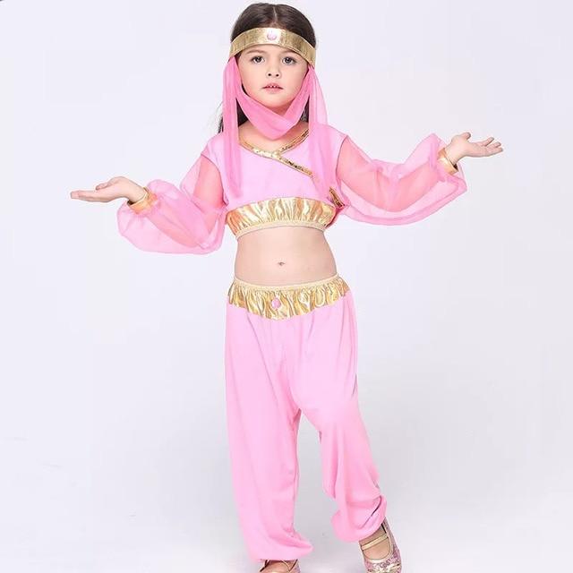 be2c7a021 Baby Kids Halloween Princess Jasmine Costume Crop Tops Suit Genie ...